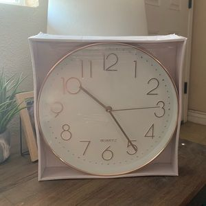 White & Rose Gold Wall Clock